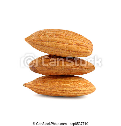 Pile of almonds isolated on white background - csp8537710
