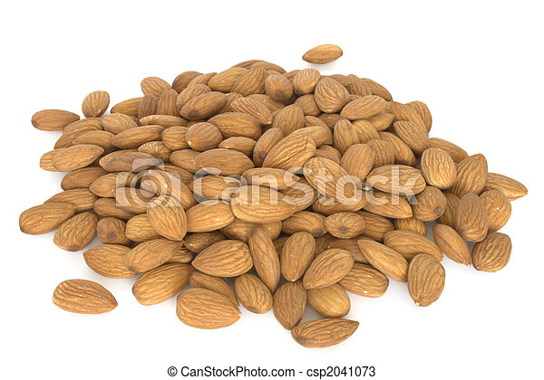 Pile of almonds isolated on white background - csp2041073