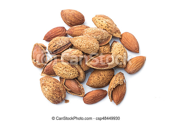 Pile of almonds isolated on white background - csp48449930