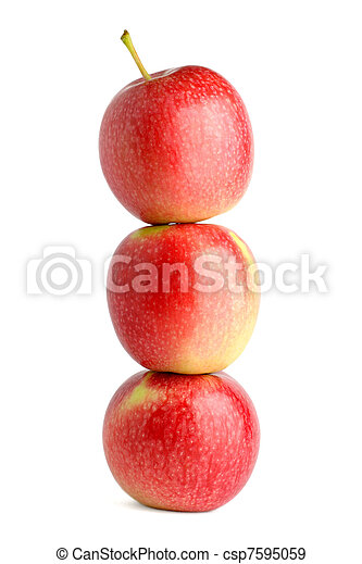 Pile of apples isolated on white background - csp7595059