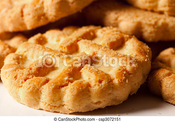 Pile of biscuits isolated on white - csp3072151