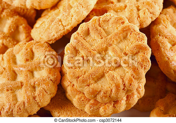 Pile of biscuits isolated on white - csp3072144