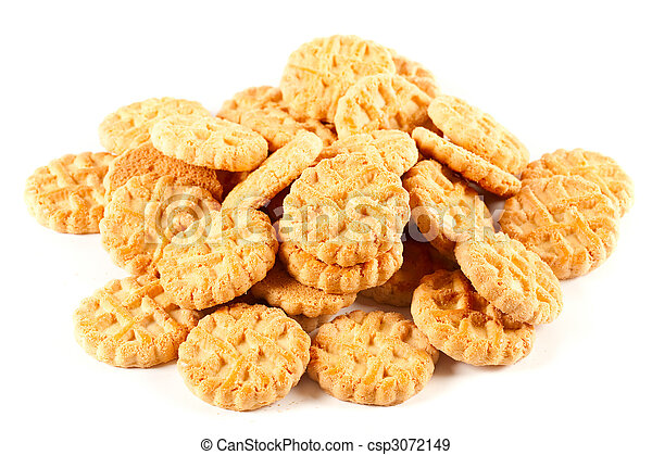 Pile of biscuits isolated on white - csp3072149
