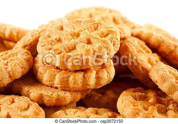 Pile of biscuits isolated on white - csp3072150