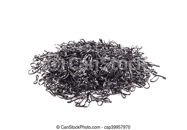Pile of black rubber ring isolated on white background - csp39957970