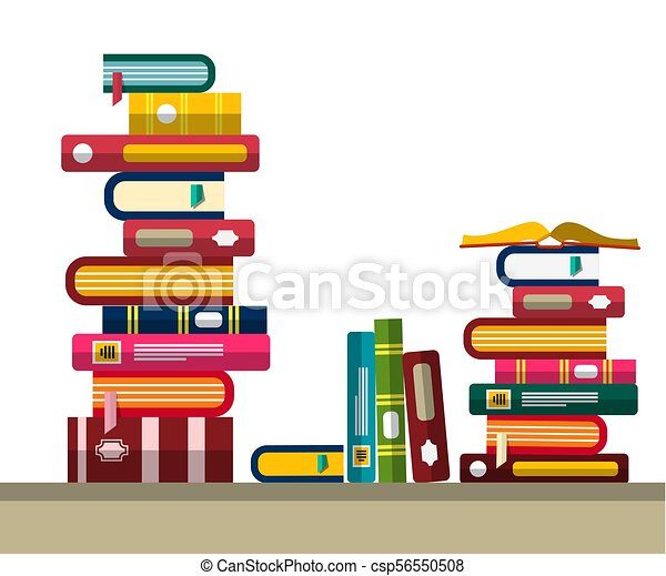 Pile of Books in Library or Bookstore. Vector Flat Design Illustration. - csp56550508