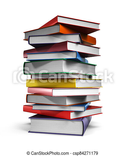Pile of Books isolated on white background - csp84271179