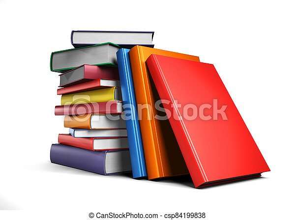 Pile of Books isolated on white background - csp84199838