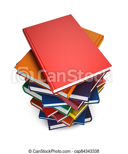 Pile of Books isolated on white background - csp84343338
