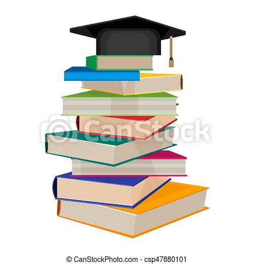 pile of books with square academic hat on top vector vector rh canstockphoto com books victorio books victoria aveyard