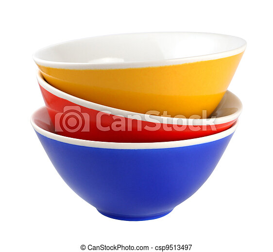 Pile of bowls isolated on white background - csp9513497