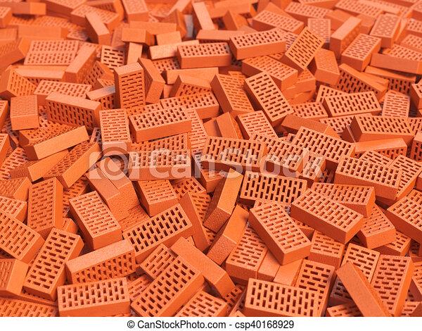 Pile Of Brick Construction Background Stock Illustration