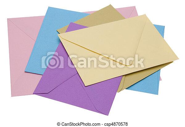 Pile of Bright Envelopes - csp4870578