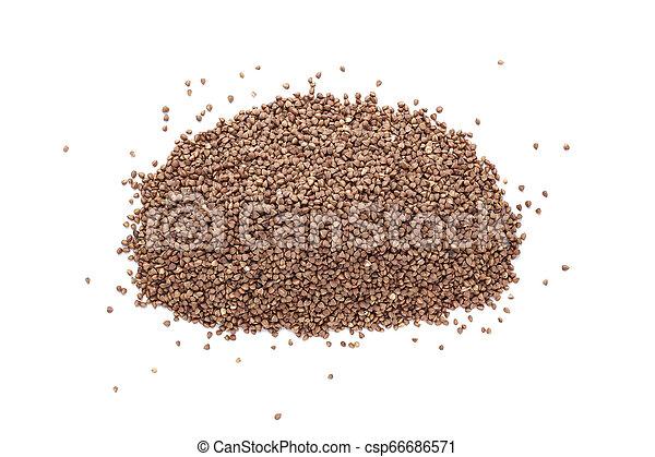 Pile of buckwheat isolated on white background. - csp66686571