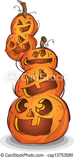 Halloween Pumpkin Drawing Picture.Pile Of Carved Halloween Pumpkins