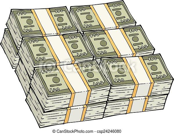 pile of cash a bunch of cash on a white background vector vector rh canstockphoto com Raining Money Raining Money