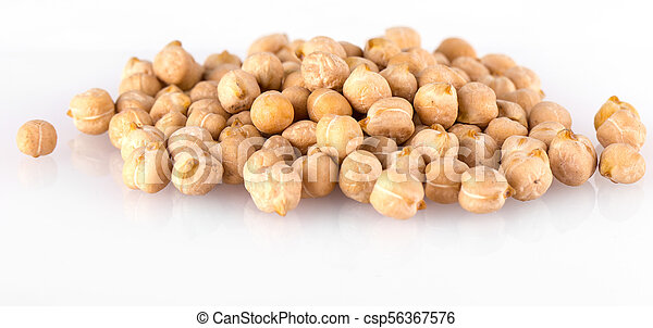 Pile of chickpeas against white background. - csp56367576