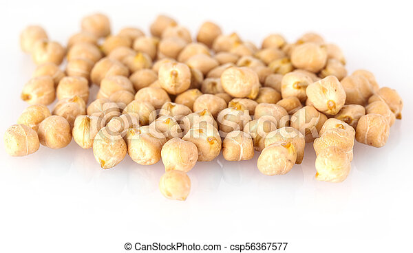 Pile of chickpeas against white background. - csp56367577