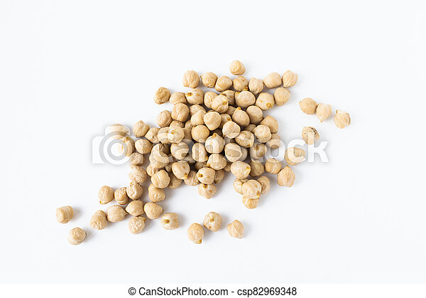 Pile of chickpeas on white background. Garbanzo beans traditional Near Easten food. - csp82969348