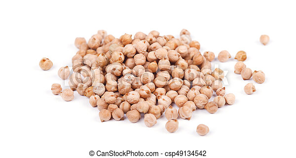 Pile of chickpeas seen from above isolated on a white background - csp49134542