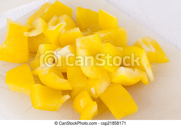 Pile of Chopped Yellow Pepper - csp21858171
