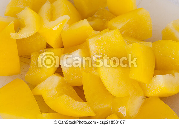 Pile of Chopped Yellow Pepper - csp21858167