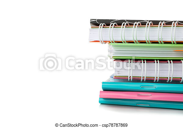 Pile of copybooks isolated on white background - csp78787869
