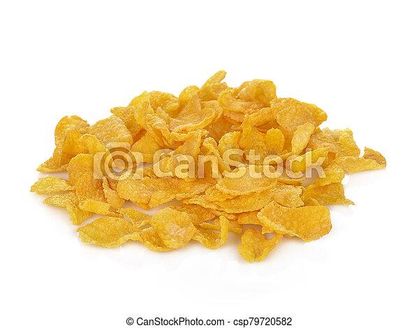 Pile of cornflakes, isolated on white background - csp79720582