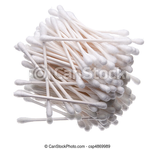 Pile of cotton swabs isolated on white. - csp4869989