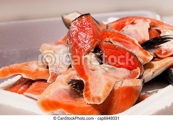 Pile of cut salmon - csp6949331