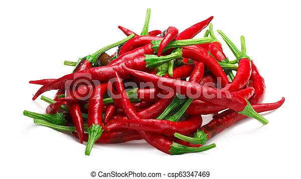 Pile of De Arbol chilies, paths - csp63347469