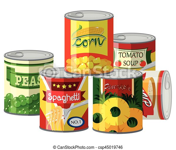 pile of different canned food illustration rh canstockphoto com free clipart canned food canned food clipart black and white