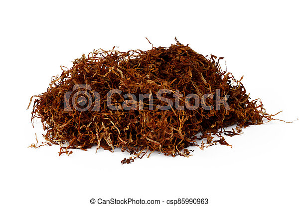 Pile of dry tobacco isolated on white - csp85990963