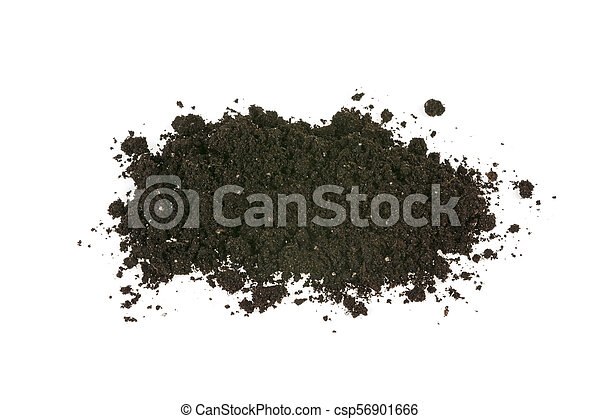 pile of earth, soil on white background - csp56901666