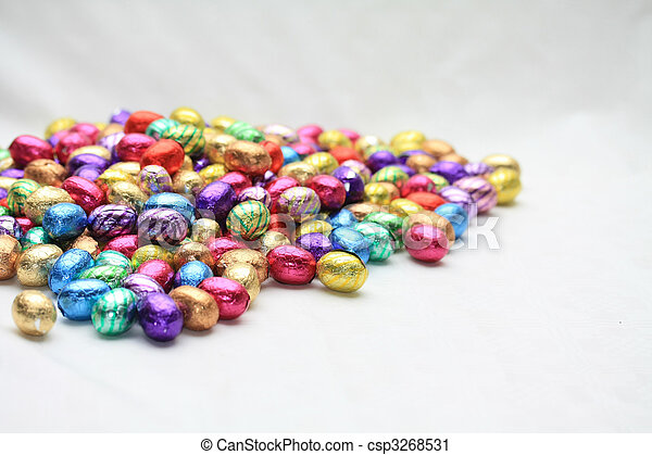 Pile of easter eggs with copy space - csp3268531