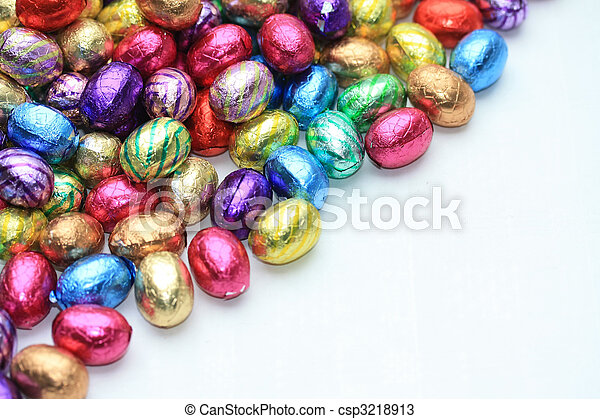 Pile of easter eggs with copy space - csp3218913