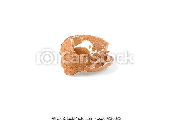 pile of eggshell, cracked shell isolated on white background - csp60236622