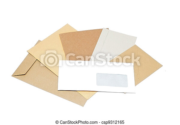 Pile of envelopes on white background - csp9312165