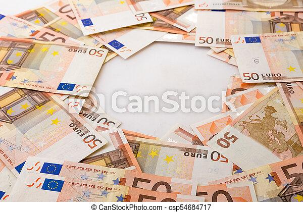 Pile of Euro banknotes - csp54684717
