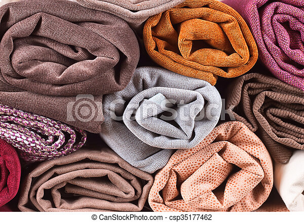 Pile of folded textile - csp35177462