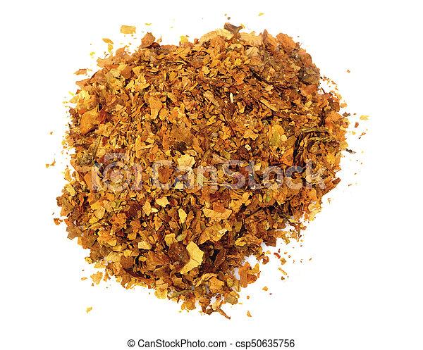 Pile of fresh tobacco isolated on white background - csp50635756