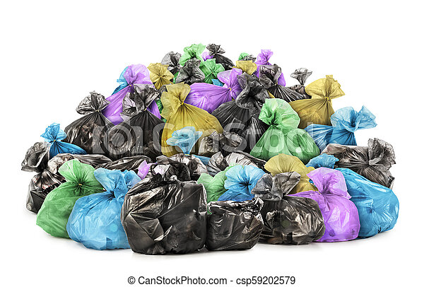 Pile of garbage bags isolated on white background - csp59202579