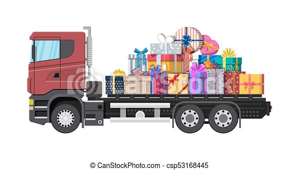 Pile of gift boxes on truck. - csp53168445