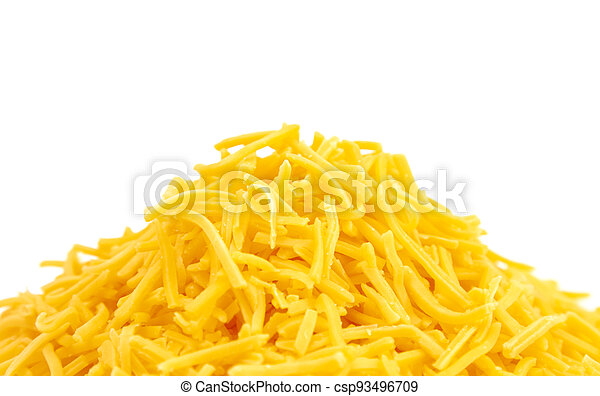 Pile of Grated Cheddar Cheese on a White Background - csp93496709