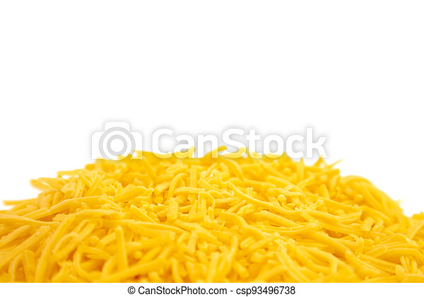 Pile of Grated Cheddar Cheese on a White Background - csp93496738