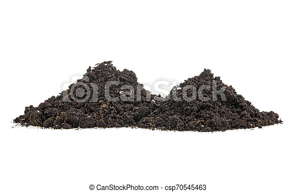 Pile of humus soil isolated on white background - csp70545463