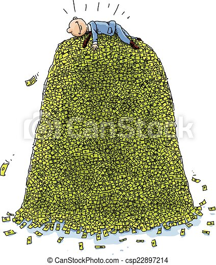 pile of money a happy cartoon businessman lies on top of a massive rh canstockphoto com pile of money clipart free Money in Hand Clip Art