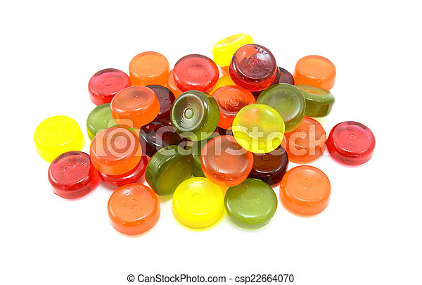 Pile of multi-coloured boiled sweets - csp22664070