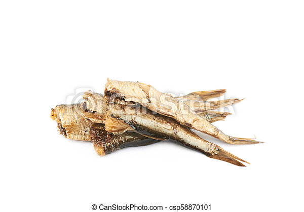 Pile of oil canned sprats isolated - csp58870101