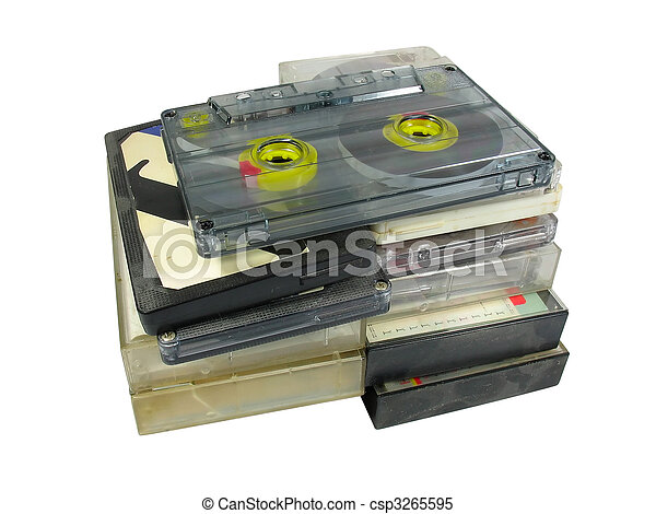 pile of old audio cassetes isolated over white - csp3265595